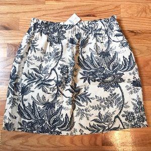 J. Crew Navy & Beige Floral Sidewalk Skirt